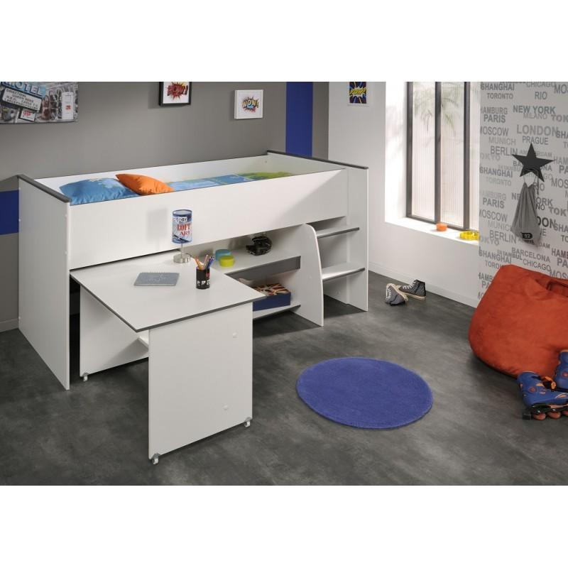 Dvignjena otroška postelja s pisalno mizo