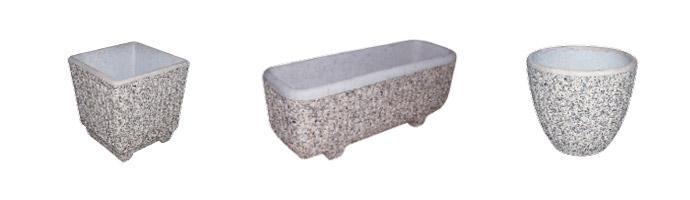Različne oblike in barve betonskih korit in vaz