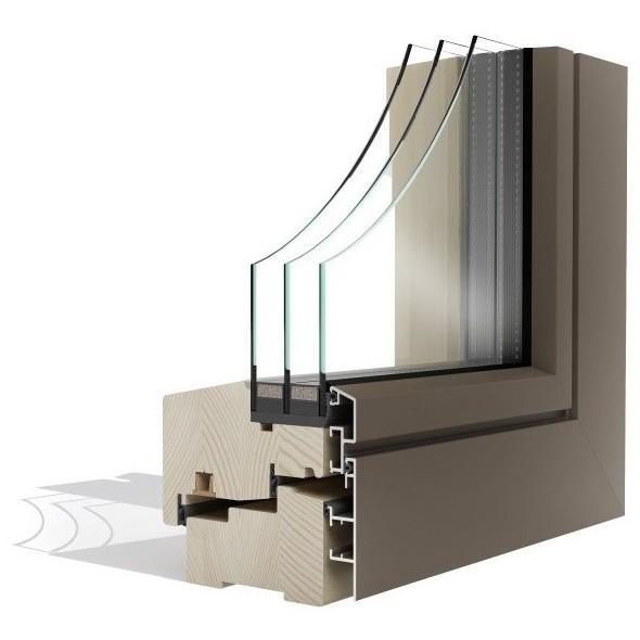 Okna serije Optimo so izdelana v kombinaciji lesa in aluminija