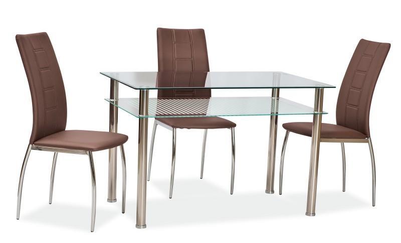 Steklena jedilna miza in stoli