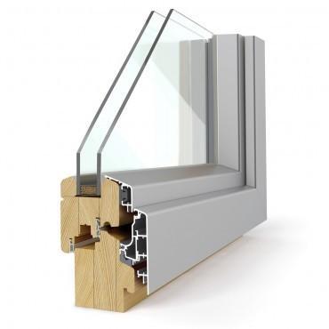 Lesena okna z alumijijsko oblogo Elegant 68 Confort