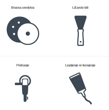 Ličarski material za maskiranje, lakiranje in poliranje
